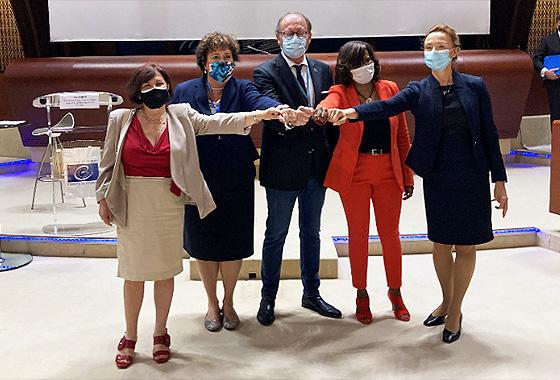 Marija Pejčinović Burić, Elisabeth Moreno, Rik Daems, Zita Gurmai and Despina Chatzivassiliou-Tsovilis, at the end of the PACE event to mark the 10th anniversary of the Istanbul Convention.